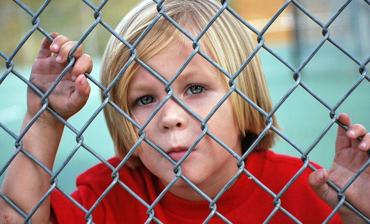 柵の向こうからこちらを覗く少年